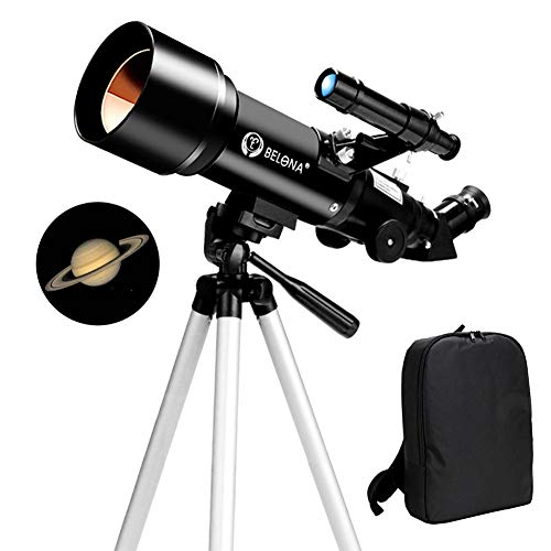 Telescope for Kids Beginners, 70mm HD Space Refractor Telescope for Astronomy, Starter Scope with Adjustable Tripod, 3 Options Eyepiece, Phone Adapter, Finder Scope, Moon Filter (Package A,Black)