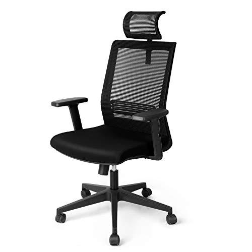 Besit Bürostuhl, Schreibtischstuhl mit ergonomischem Design, verstellbare Kopfstütze und Lendenstütze, Wippfunktion 90°~110°, höhenverstellbarer Bürosessel, belastbar bis 135 kg