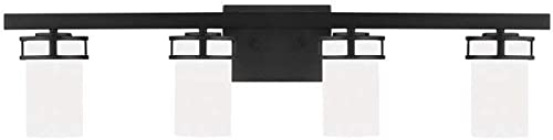"""discount Sea popular Gull 4421604-112 Robie Etched/White Glass Cylinder Bath Vanity Wall Mount, 4-Light 300 new arrival Total Watts, 8""""H x 34""""W, Midnight Black online"""