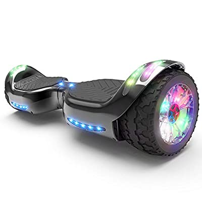 HOVERSTAR Hoverboard All-Terrain LED Flash Wheel with Bluetooth Speaker LED Light Self Balancing Wheel Electric Scooter (Chrome Black)