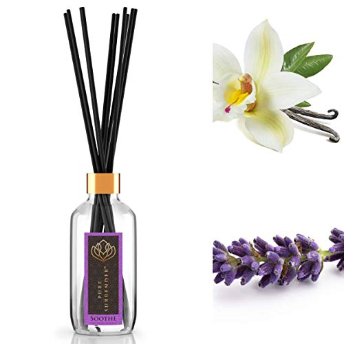 Soothing Lavender Vanilla Aromatherapy Reed Diffusers | 100% Pure Organic Essential Oils | 10 Reed Diffuser Sticks and 4 oz Bottle | Pleasant Room Fragrance | Hand Made in The USA