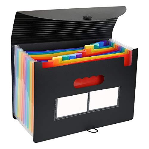Organizador de archivos de Accordian expandido, 12 bolsillos, carpeta de archivos de tamaño carta, portátil, resistente al agua, organizador de documentos autónomo de plástico para oficina