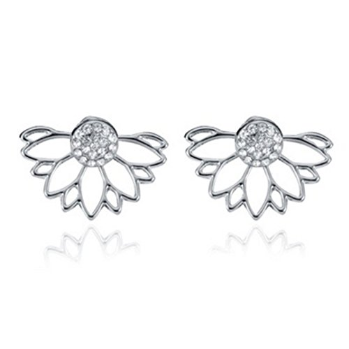 Pinzhi Silver Beauty Woman Ear Stud Retro Vintage Crystal Pendientes perforados en forma de abanico Hueco