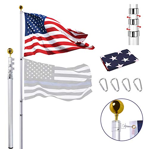 20FT Telescoping Flag Pole Kit, Extra Thick Aluminum Telescopic Flagpole with 3x5 American Flag, Golden Ball, Outdoor Heavy Duty Inground Flag Pole for Residential, Yard or Commercial Use, Fly 2 Flags