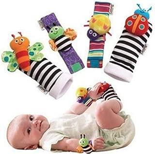 4PCS Baby Rattles, Cute Velvet Animal Wrist Rattles and Foot Finder Baby Socks Set, Developmental Soft Toys Dolls for Infants