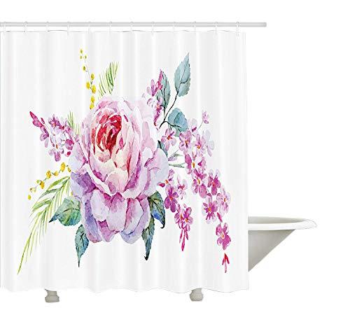Yeuss Mauve Duschvorhang, Zusammensetzung der romantischen blühenden Frühling Natur unter dem Motto Rosen mit Aquarelleffekt, Stoff Badezimmer Dekor Set mit Haken, Multicolor