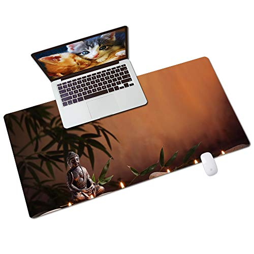 QIYI Desk Pad, PU Leather Desk Blotter Protector, Waterproof Computer Desk Mat, Keyboard Mouse Pads, Non Slip Base Home & Office Accessories, Extended Large Size 31.5' x 15.7' - Buddha & Candles