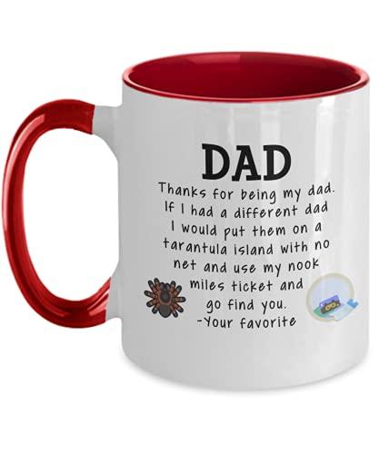 Animal Crossing Dad Coffee Mug 11 oz Father's Day Dad Birthday Dad Christmas ACNH Tarantula Nook Miles Ticket Two Tone