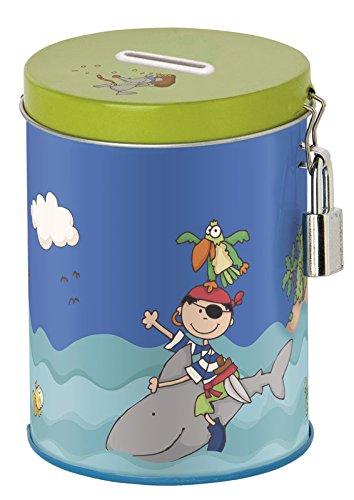 Sigikid - 24732 - Enfant Garçon - Tirelire Fantaisie Pirate - Sammy Samoa - Bleu/Vert