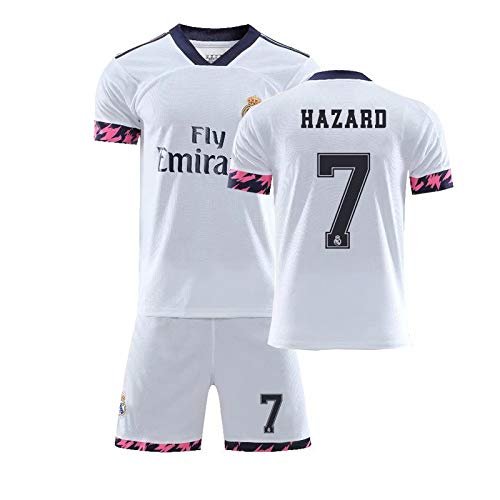 Fußballtrikot und Shorts mit Socken für Kinder 2020 2021, Real Madrid Hazard Home, 26