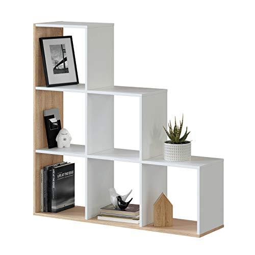 Habitdesign Estantería Librería, Salón, Comedor o Despacho, Modelo Lua, Acabado en Blanco Artik y Roble Canadian, Medidas: 110 cm (Alto) x 108 cm (Ancho) x 28 cm (Fondo)