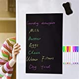 Magnetic Blackboard Dry Erase Board Black A3 Size 17'x12'with 8 Liquid Chalk Makers and Magnetic Eraser Magnetic Chalk Board for Fridge Kitchen Home Office School Planning Board A3 Set