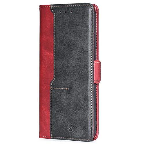FINEONE Funda para Samsung Galaxy A22 5G, Billetera de Cuero PU Retro Elegante Cubierta Cierre Magnético Case Cover, Cubierta Estilo Flip Estuche, Rojo