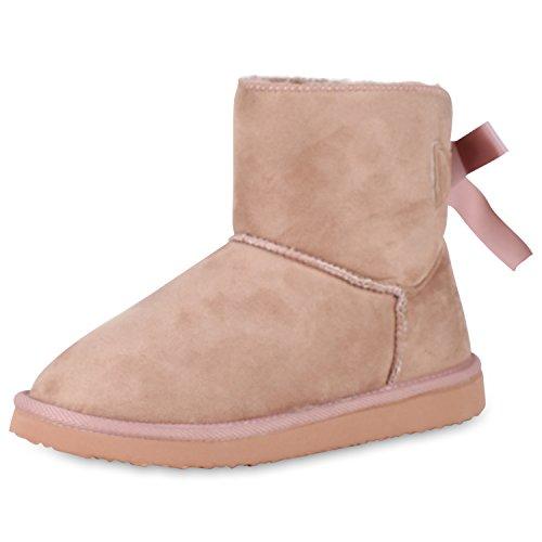 SCARPE VITA Damen Schlupfstiefel Warm Gefütterte Stiefeletten Schleifen Schuhe 152333 Rosa Warm Gefüttert 37