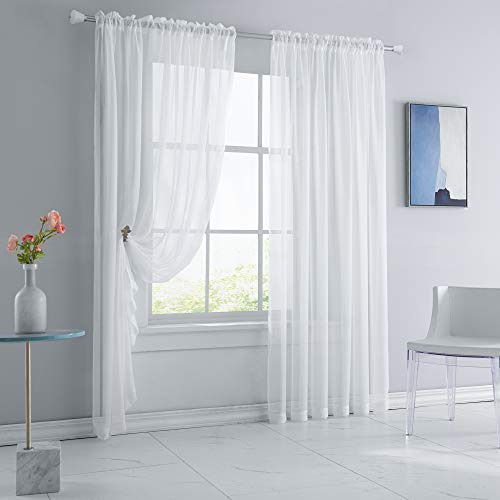 KEQIAOSUOCAI Sheer White Curtains 72 Inches Long Rod Pocket Sheer Voile Drapes Panels for Living Room Bedroom Bathroom 52 Inch Width by 72 Inch Length Set of 2