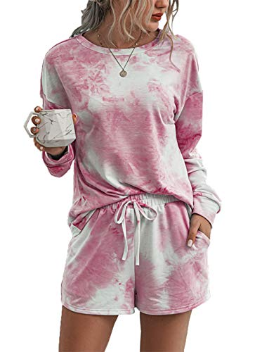 Pink Queen Womens Lightweight Loungewear Tie Dye Shorts Elastic Waist Drawstring Short Sleep Wear Pant
