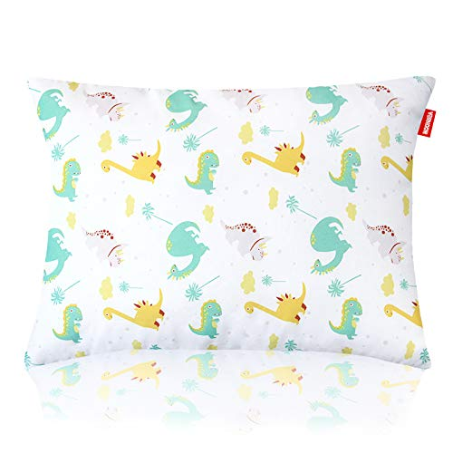 Print Toddler Pillows for Sleeping, Dinosaur Pillow for Kids, Washable Ultra Soft Baby Pillows Perfect for Travel, Toddler Cot, Baby Crib, 14 x 19 inch No Pillowcase Needed (Dinosaur)