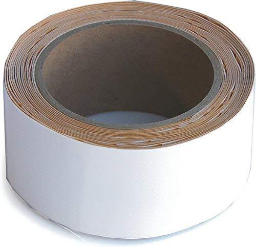 Wupsi Cinta de Reparación de PVC - para Lonas, Cubierta de Remolque, Invernadero, Toldo, Carpa, Tienda Campaña y Persianas - Blanco, 5 Cm X 5 M