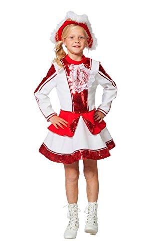 The Fantasy Tailors Tanzmariechen Kostüm Kinder Mädchen Rot Weiß mit Pailletten (ohne Hut) Tanzgarde Komitee Kleid Showtanz Karneval Fasching Hochwertige Verkleidung Größe 116 Weiß/Rot
