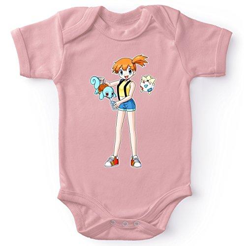 Body bébé Manches Courtes Filles Rose Parodie Pokémon - Carapuce, Ondine et Togepi - Carafapuce. :(Body bébé de qualité supérieure de Taille 3 Mois - imprimé en France)