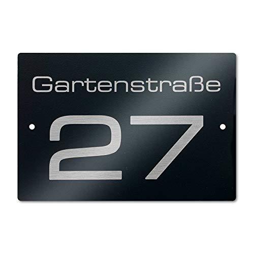 Metzler Edelstahl Hausnummer- und Straßen-Schild in Anthrazit RAL7016 mit Bohrungen - inkl. Laser-Gravur - witterungsbeständig & langlebig