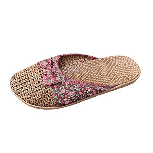 Pantofole Scarpe Donna/Uomo Moda Casual Farfalla Nodo Slip On Scivoli Indoor Home (35,1Rosso)