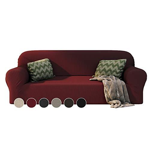 Dreamzie - Sofabezug 3 Sitzer Elastische - Bordeaux - Oeko-TEX® - Sofa Überzug Dehnbarer aus Recycelter Baumwolle - Made in Europe