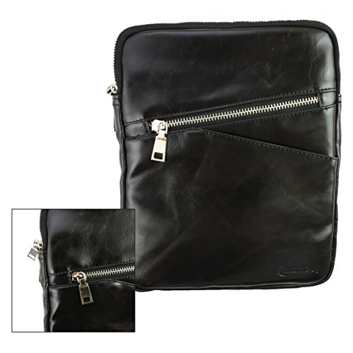 Emartbuy® Schwarz Crossbody Reisen Messenger Bag Tasche Hülle in Premium PU Leder mit gepolsterten Innenraum und Schulterriemen für geeignet Freelander PX1C 7 Zoll Quad Core Tablet