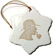 QMSING Image of Funny Outline of Sherlock Holmes-Snowflake Ornament, Porcelain, 3-Inch BH402239