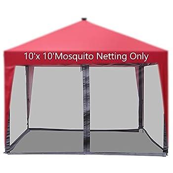 COVERONICS 10 x10  Gazebo Canopy Replacement Netting,Mesh Screen Netting Sidewalls with Zipper for Patio Gazebo Canopy Tent Screen Sidewalls ONLY