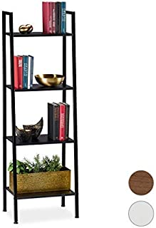 Relaxdays Estantería Industrial de pie, Cuatro estantes, 136 x 44 x 31,5 cm, Negro, Aglomerado, Hierro