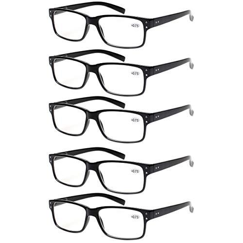 Reading Glasses 5 Pairs Quality Readers Spring Hinge Glasses for Reading for Men and Women (5 Pack Black, 2.50)