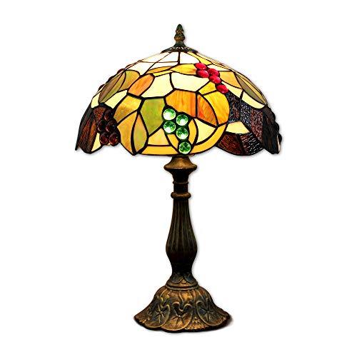 Hobaca® 12 pouces vitrail raisins Tiffany lampe de chevet E27 pour chambre salon rétro Vintage Art Deco Designer lampe