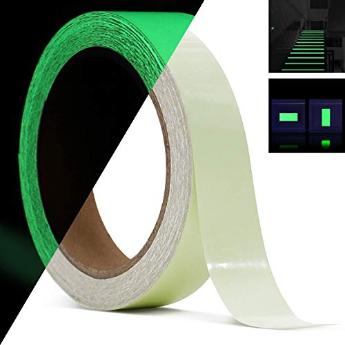 Glow in The Dark Tape 30 ft x 1 inch,Fluorescent Tape, Premium Quality Non-Toxic, Waterproof Stickers for Stairs,Walls,Steps and Exit Sign