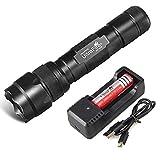 UltraFire 502B - Linterna LED recargable con batería 18650 y cargador USB, 3 modos, 1000 lúmenes, resistente al agua