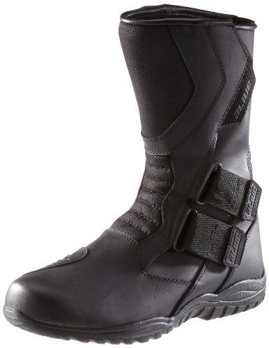 Protectwear TB-ALH-43 Motorradstiefel, Tourenstiefel, Allroundstiefel aus schwarzem Leder mit Klettverschluss, Größe 43, Schwarz