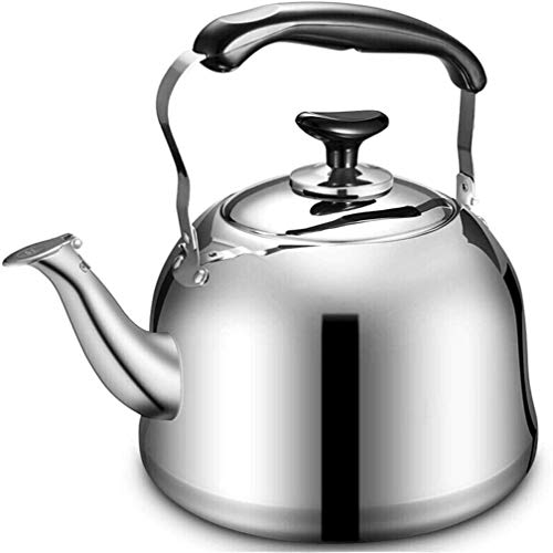 Bouilloire induction Bouilloire antidérapante gaz en acier inoxydable Teakettle for tous Stovetop avec poignée ergonomique Whistling Teapot Whistling Tea Kettle WHLONG (Size : 4L)