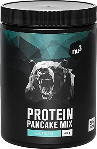 nu3 Pancake Proteici - 400 g Non Aromatizzati - Preparato per Pancake Proteico Basso Contenuto Carboidrati + 55% Proteine - 28g di Proteine e Solo 179kcal per Porzione - Senza Conservanti e Coloranti