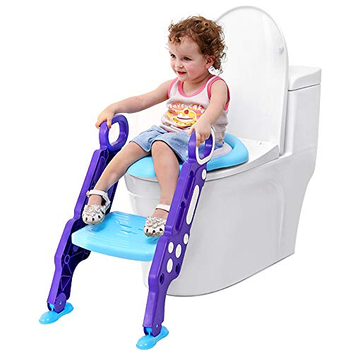 Tarnel Adaptador WC Niños con Escalera Asiento Inodoro Niños Ajustable para Orinal Infantil Formación Seguro Antideslizante