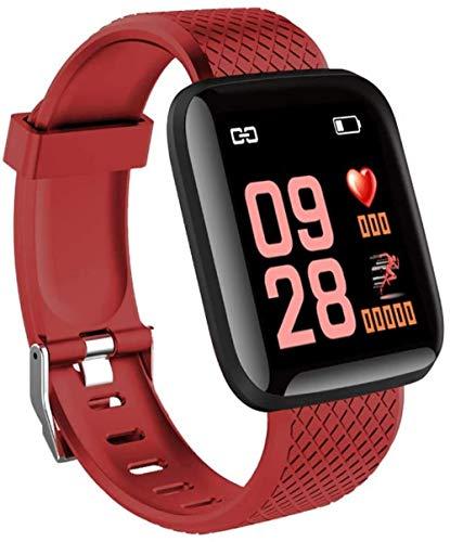 JSL Pulsera de fitness impermeable con correa de frecuencia cardíaca, monitor de sueño, podómetro, reloj inteligente para niños, mujeres y hombres-negro-rojo