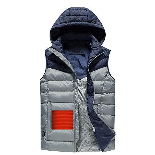 Estrella-L Chaleco ligero para hombre, 5 V USB, calentador eléctrico, resistente al viento, con 3 controles de temperatura de calor, para aliviar el dolor, senderismo, pesca, camping, caza, gris, L