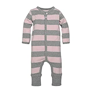 Burt's Bees Baby - Unisex Baby Romper and Hat Set, One Piece Jumpsuit and Beanie Set, 100% Organic Cotton, Blossom/Heather Grey Rugby Stripe, 18 Months (B06XSZVWSM)   Amazon price tracker / tracking, Amazon price history charts, Amazon price watches, Amazon price drop alerts