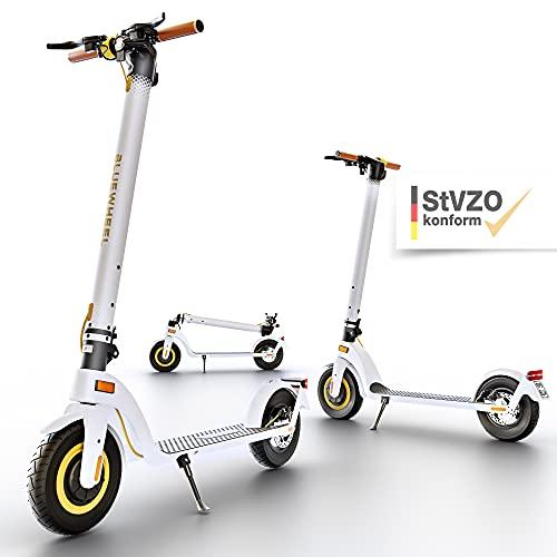 """BLUEWHEEL 10"""" Design E-Scooter mit Straßenzulassung   Deutsche Qualitätsmarke   mobiler Akku + 13,5 kg leicht   E Scooter 20 km/h mit LCD-Display, Luftreifen & Easy Folding   Elektro Roller IX500"""