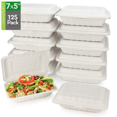 HeloGreen [125 Count] Eco Friendly Take Out Food Containers, (7' x 5', 1-Comp.) - Non Soggy, Leak Proof, Disposable To Go Containers, Boxes, Made From Cornstarch - Microwave Safe