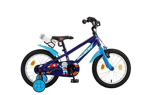 TALSON 16 Zoll Fahrrad ASAF mit Trinkflasche und Stützrädern Blau