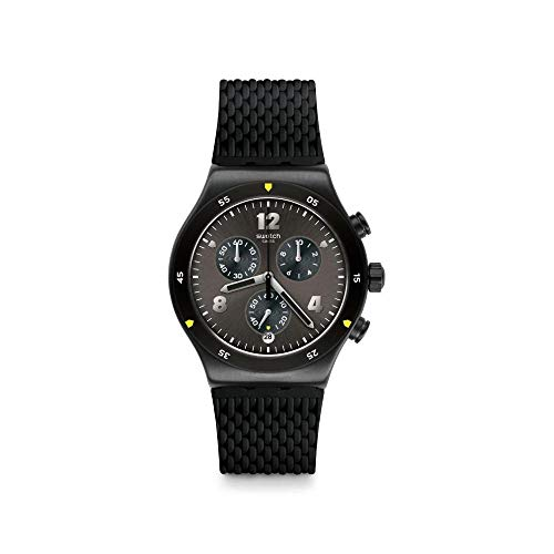 Swatch Herren Chronograph Quarz Uhr mit Gummi Armband YVB406