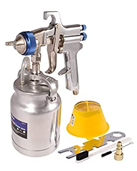 Dynastus 33 oz Siphon Feed Spray Gun - 2.5mm Nozzle for Spraying Oil-Based or Latex Paints with Filtering and Cleaning Kits