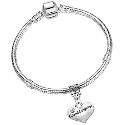 Grand daughter Silver Starter Charm Bracelet with Pendant and Gift Box (18cm (Teens/Young Adult))
