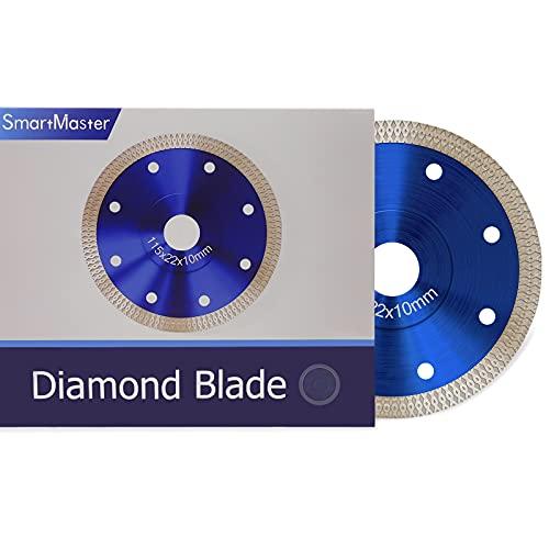 SmartMaster Disco Diamantato 115mm, Disco Diamante Standard per Smerigliatrice Angolare, Dischi Da Taglio per Smerigliatrice Angolare per Taglio Di Gres Porcellanato, Granito, Piastrelle,Super Sottile