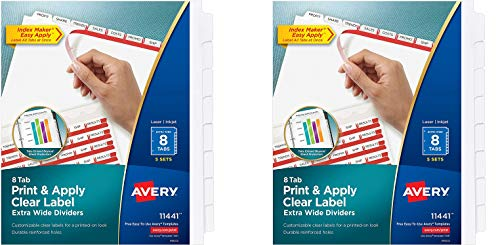 AVERY 8-Tab Extra Wide Binder Dividers, Easy Print & Apply Clear Label Strip, Index Maker,White, 5 Sets (11440) (Pack of 2)